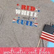 Red White and Cute Child T-shirt image on top and graphic description below for Pinterest Pin