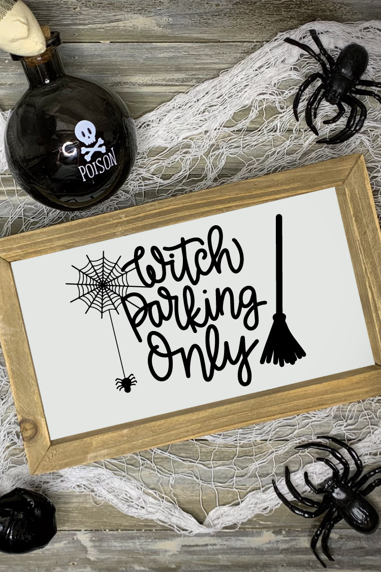"""Halloween scene with """"Witch Parking Only"""" Sign"""