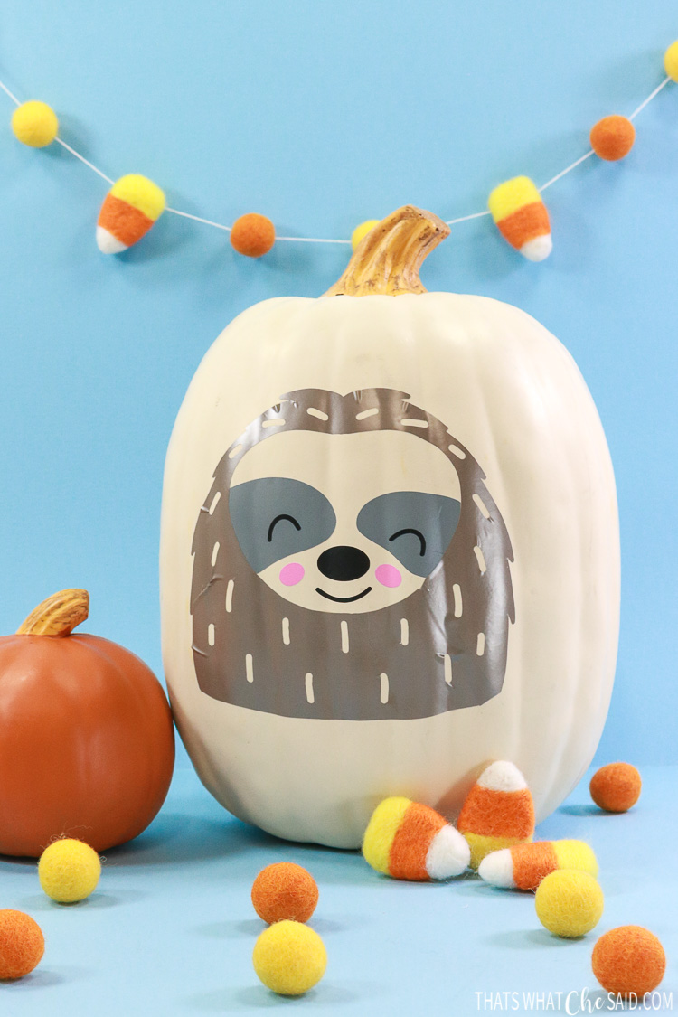 White Faux Pumpkin with Sloth SVG in vinyl