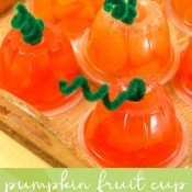 Orange Fruit Cups turned into Pumpkins for fall snack