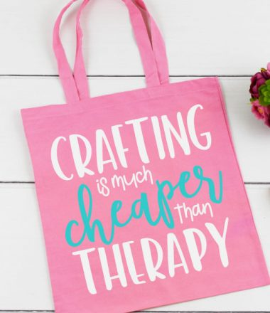 """Pink Tote Bag with """"Crafting Is Much Cheaper Than Therapy"""" in iron on vinyl"""