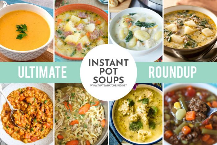 collage of instant pot soup recipes