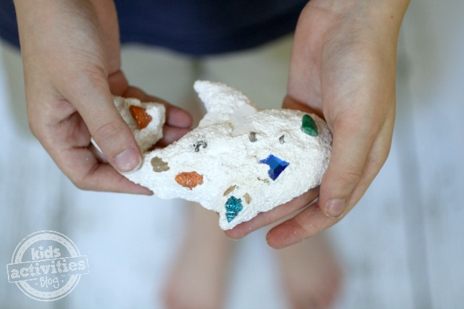 Sand molds with cute shells made from plaster of Paris.