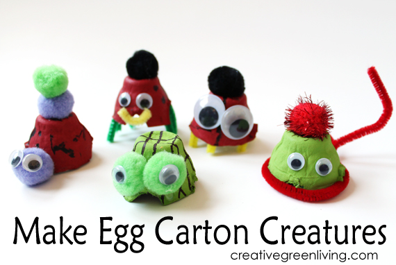 Creatures made from egg cartons