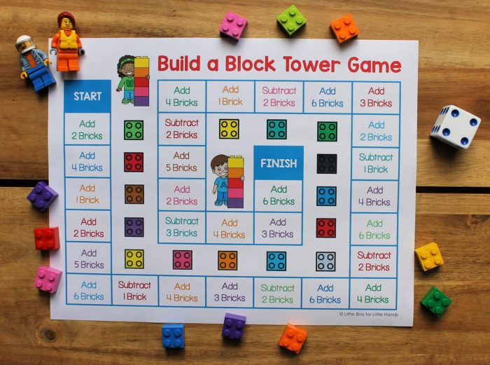 Printable lego block tower game sheet with legos and dice.