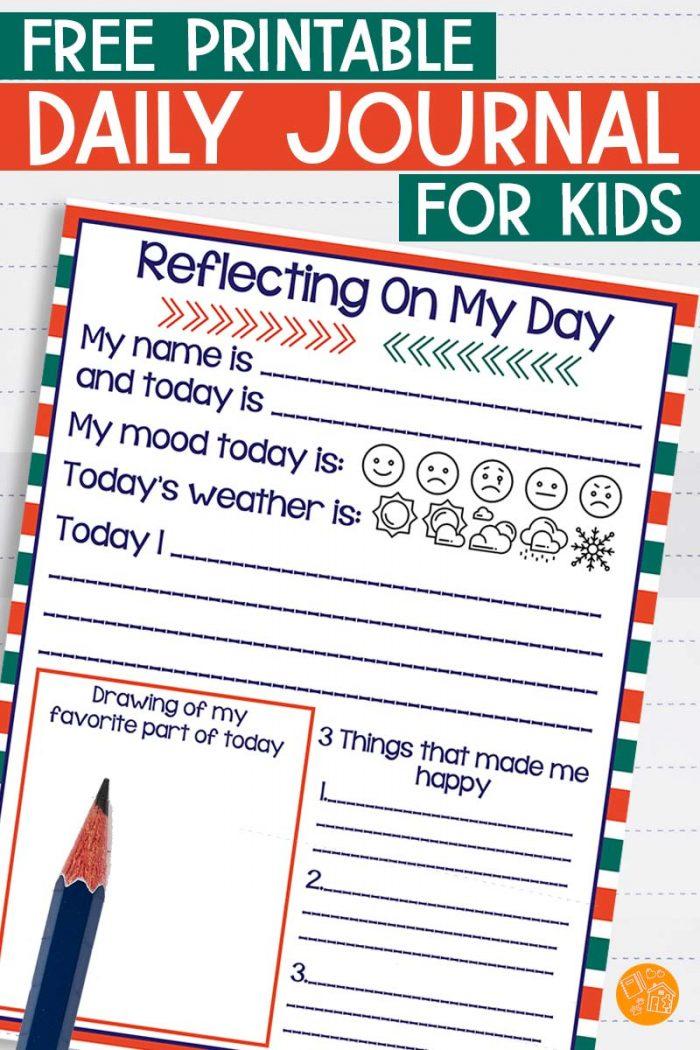 Printable kids daily journal.