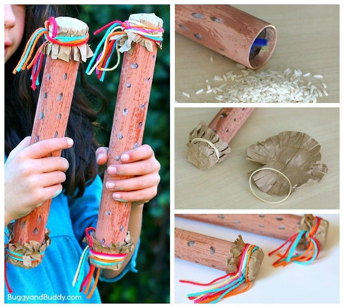 Rain sticks made from paper towel tubes and rice.