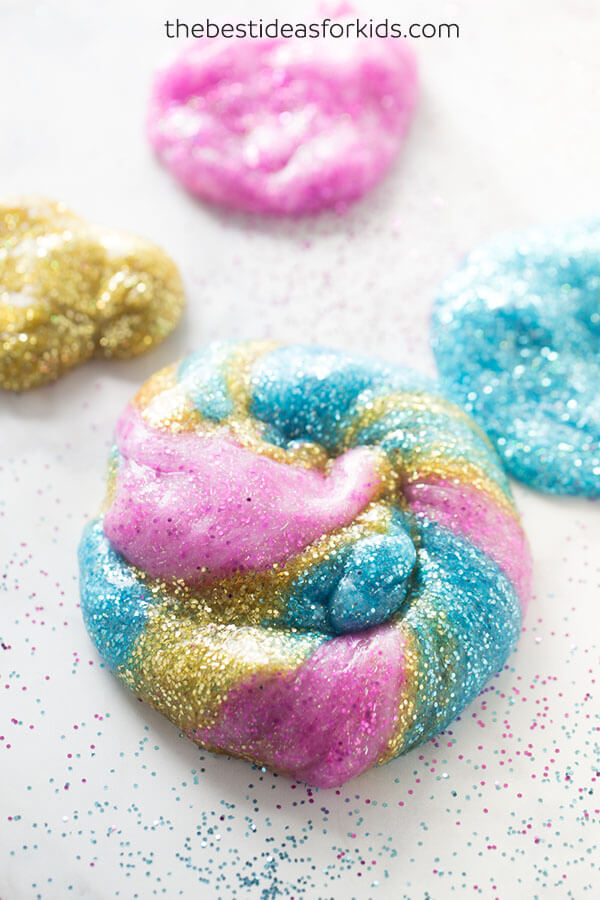 Pink, blue and gold glittery slime.