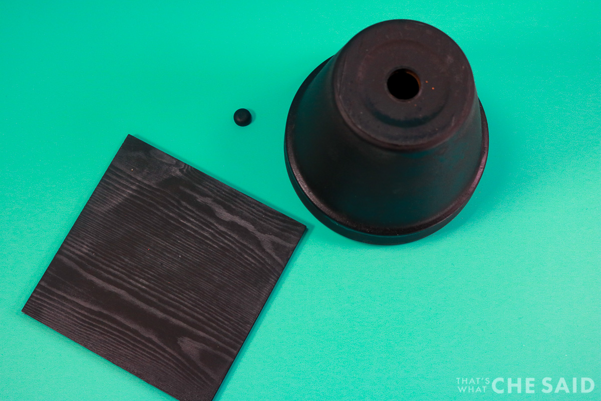 Clay Pot Grad Cap Pieces, pot, wooden square and wooden cap
