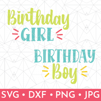 Shop listing showing the SVG files for Girl/Boy Birthday