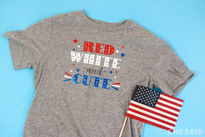 Child Grey T-Shirt with Small American Flag with Patriotic Red white and cute design with iron on
