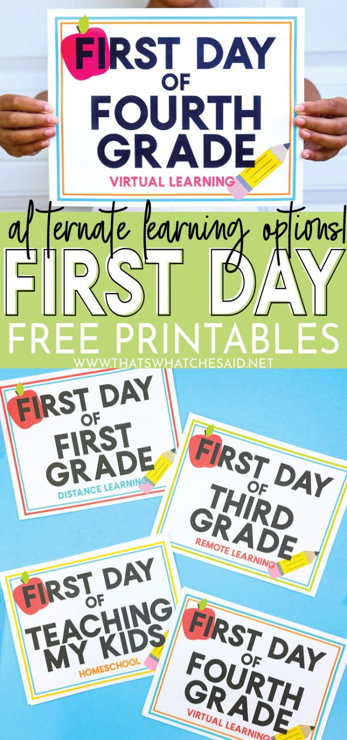 hight resolution of First Day of School Free Printables - Alternate Learning Options – That's  What {Che} Said...