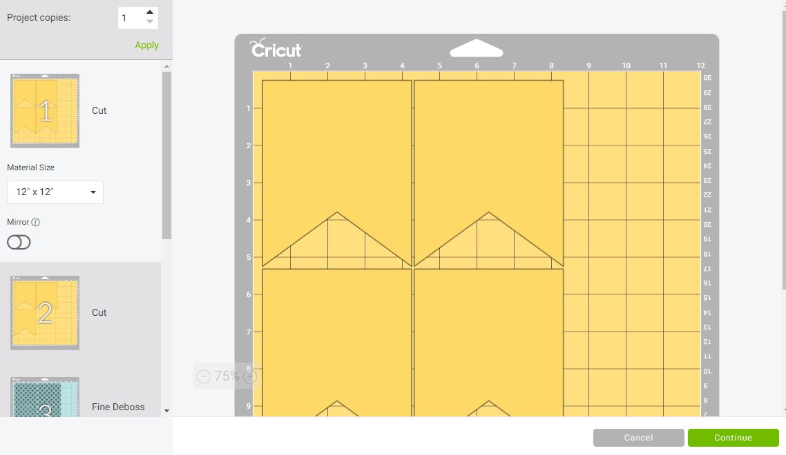 Mat Screen in Cricut Design Space