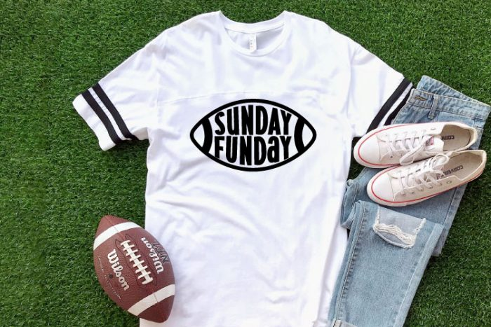 AstroTurf background with white shirt and Sunday Funday Free football SVG with football and jeans