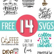 Collage of png depictions of free coffee svg files