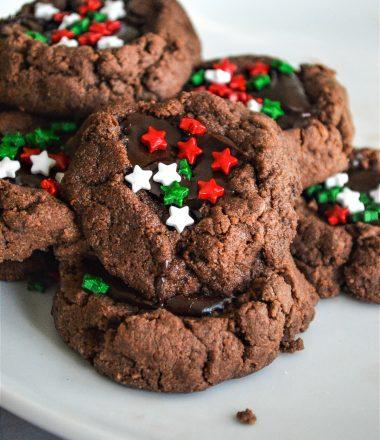 Chocolate Thumbprint cookies with Christmas Sprinkles