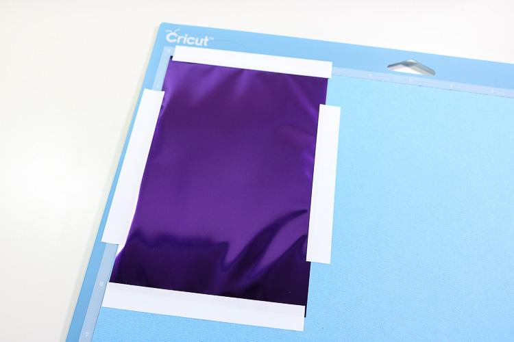 Purple 4 x 6 foil on glue cardstock on lightgrip mat