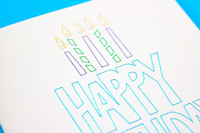 Close up of Happy Birthday card in different colored foils