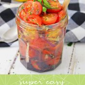 Vertical of Tomato Relish in a Jar with Wording overlay added for a Pinterest Pin