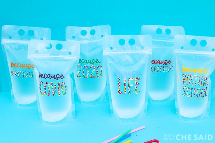 6 reusable drink pouches with pandemic related designs in colorful adhesive vinyl - Horizontal