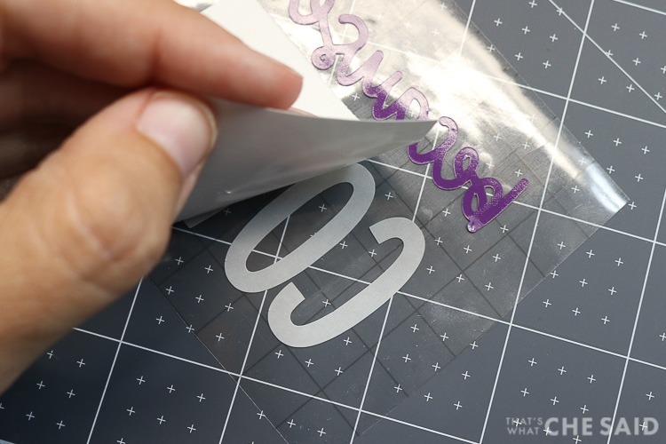 Removing Paper backing from adhesive vinyl on transfer sheet