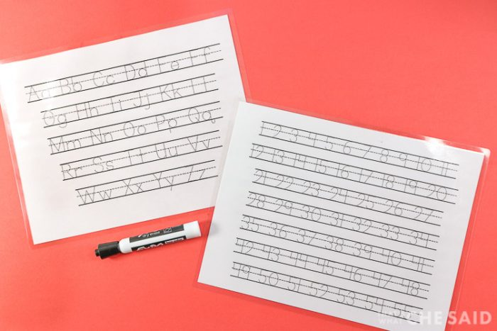 Tracing Sheets made from Free Tracing Fonts and laminated to use with a dry erase marker