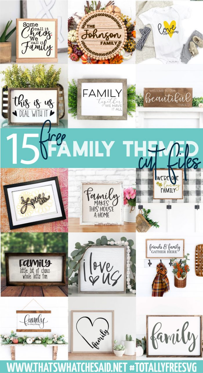 Collage of 15 free family svg finished projects