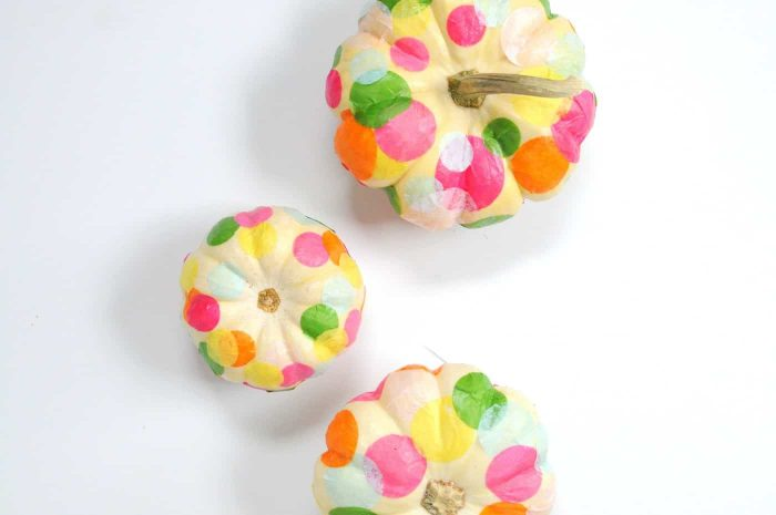 Pumpkins with polka dots added with tissue paper and modpodge