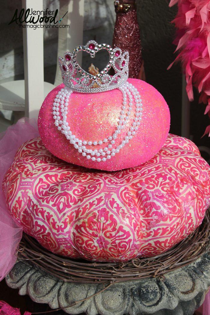 Pink breast cancer awareness pumpkin