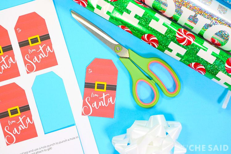 Cut out the From Santa Gift tags