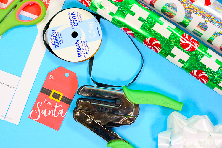 Punch a hole in the From Santa Gift Tag