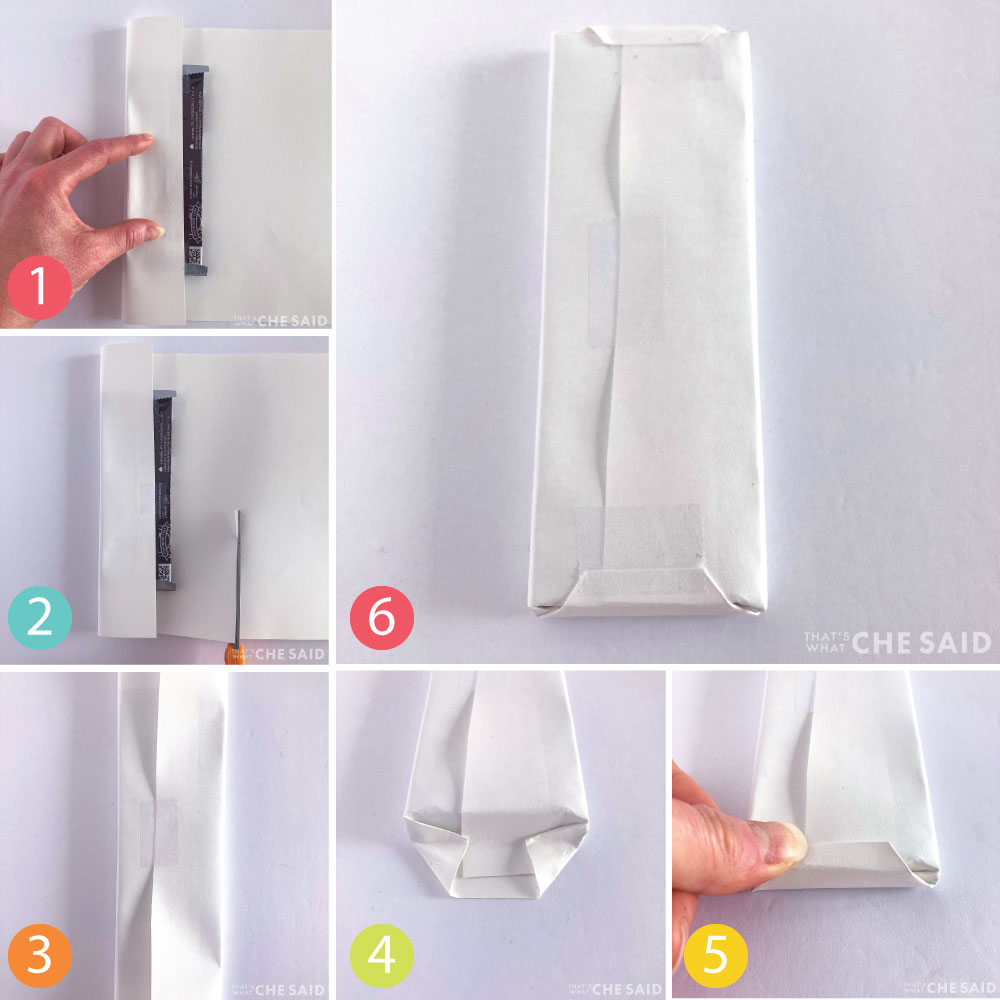 6 step collage on how to wrap a candy bar like a present