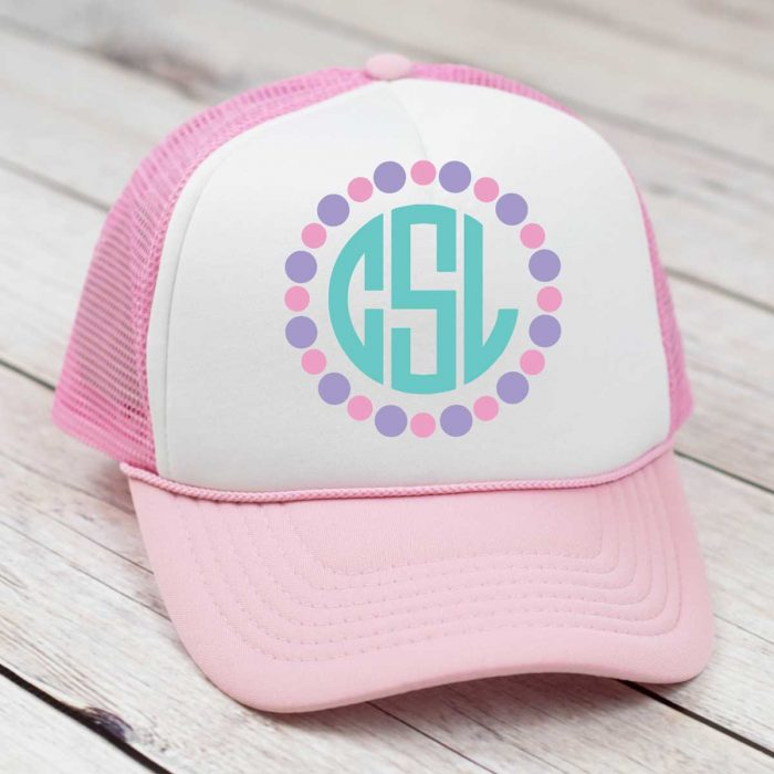 Pink and White Trucker hat with circle monogram in aqua pink and purple heat transfer vinyl