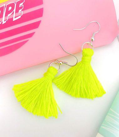 Tassel earring with make up brushes