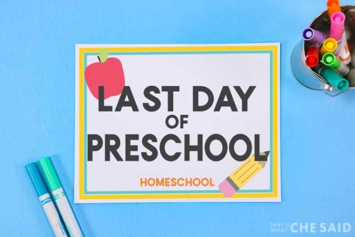 blue background with printable last day of school sign and apple and marker props
