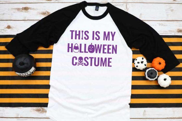 Black and white raglan t-shirt with Halloween design