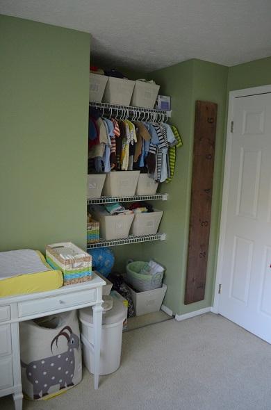 nursery closet and table