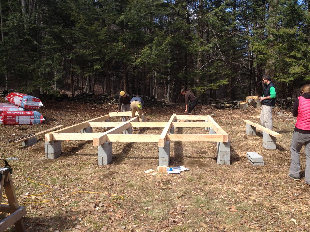 Building The Yurt Platform 1 Foundations Beams Blocking That Yurt