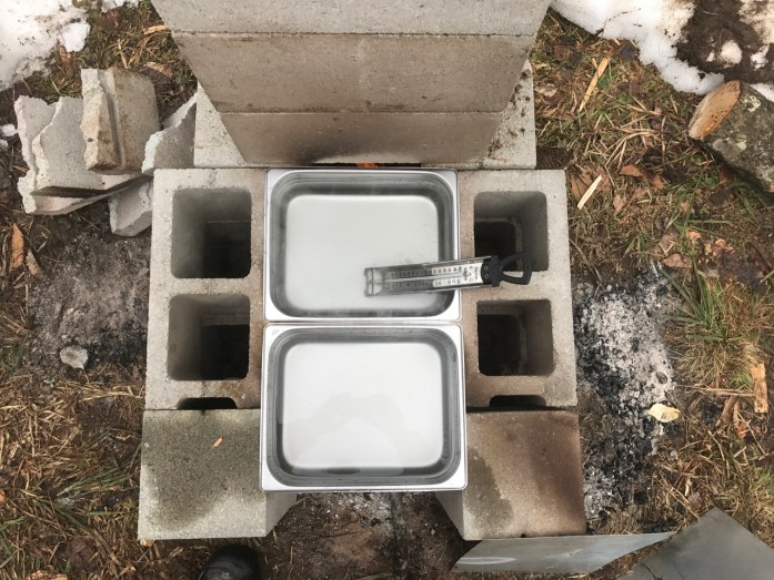 basic and cheap syrup evaporator from cinder blocks