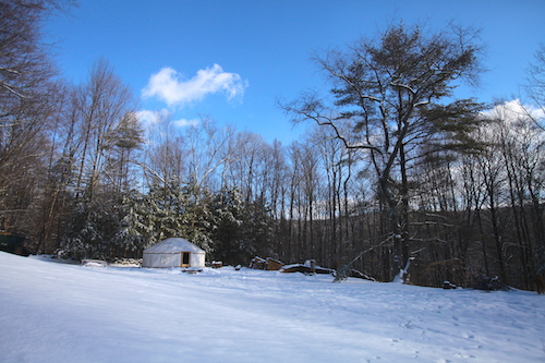 living in a yurt in winter in vermont