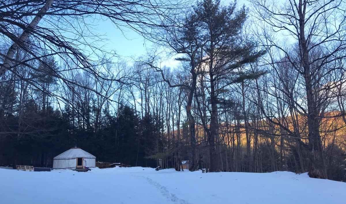 yurt in vermont winter