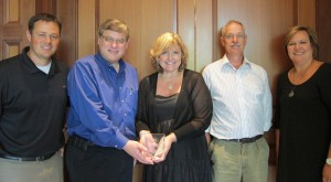 On June 29, 2013 we were recognized for our support of the MSU College Veterinary Medicine program y Larry Wallach, Associate Dir., Corporate & Foundation Relations, Michigan State University.  From Left: Shane Patzer, Larry Wallach, Kyle Abbott, Craig Brown, Tiffany Patzer.
