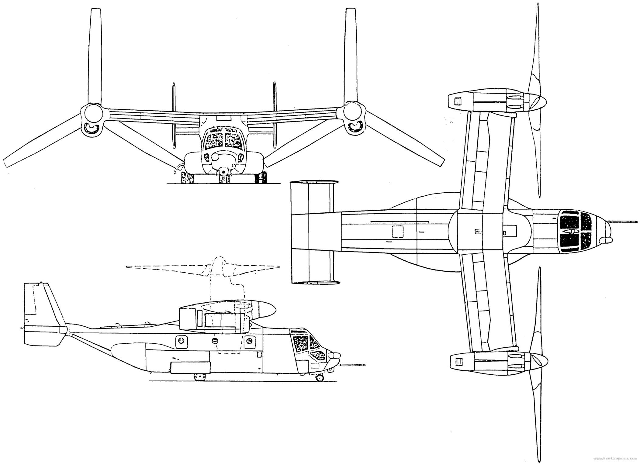 Blueprints Gt Helicopters Gt Bell Gt Bell Boeing V 22 Osprey