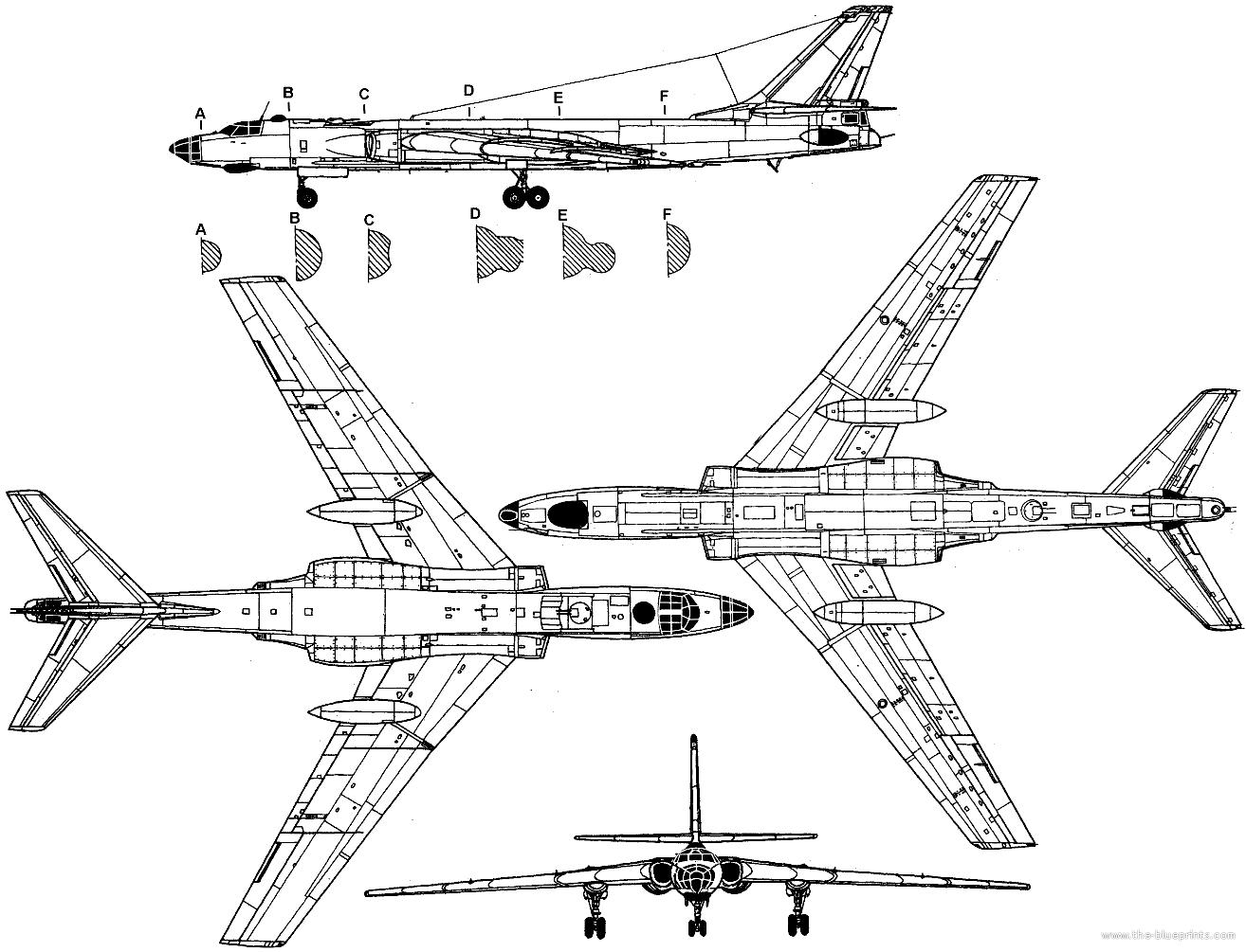 Blueprints Gt Modern Airplanes Gt Tupolev Gt Tupolev Tu 16