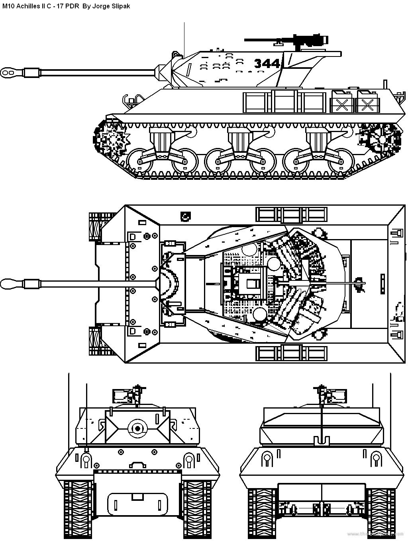 Blueprints Gt Tanks Gt Tanks M Gt M10 Achilles Ii C 17 Pdr