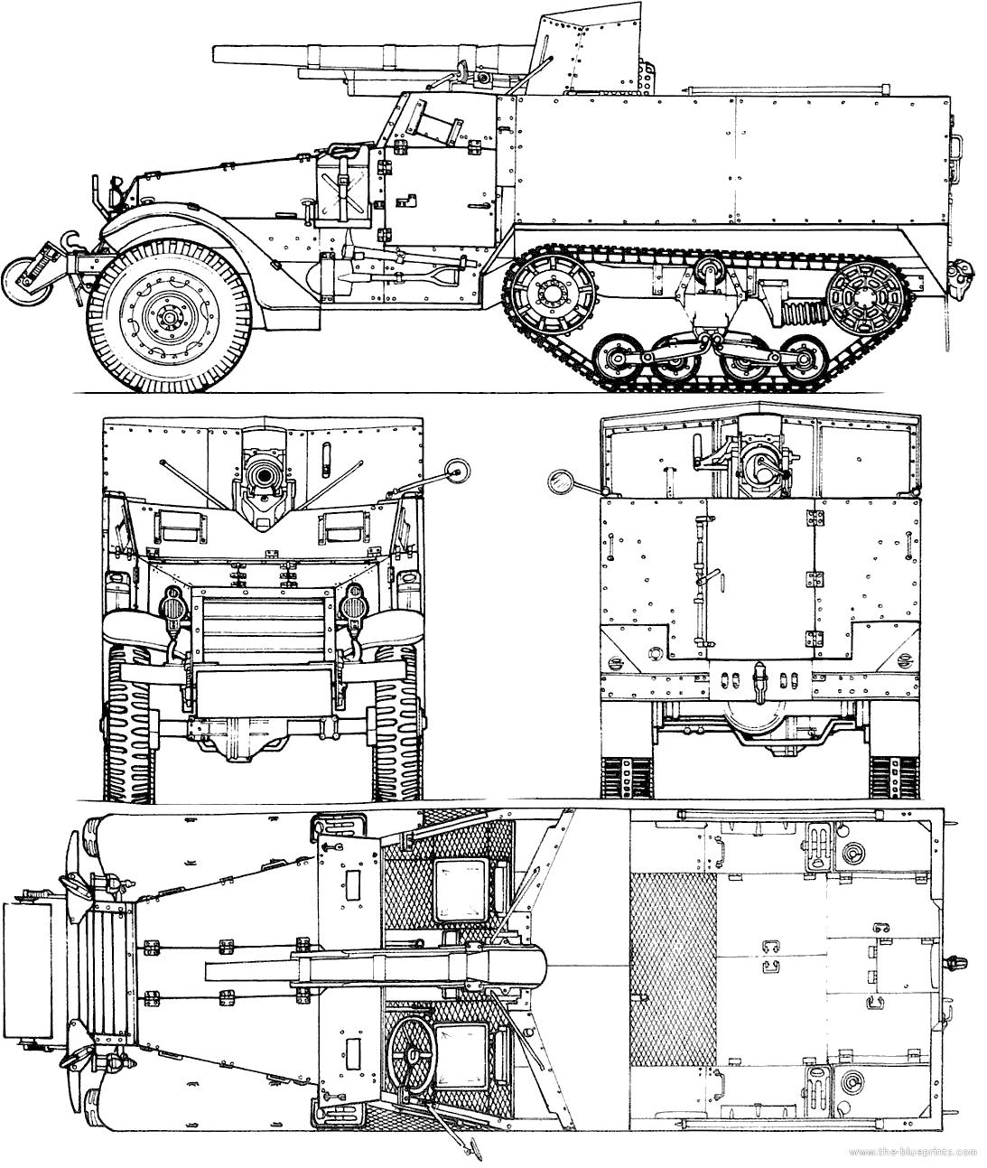 Blueprints Gt Tanks Gt Tanks M Gt M3 75mm Gun Motor Carriage