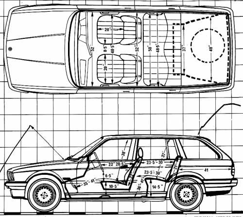 Blueprints > Cars > BMW > BMW 325i Touring E30 (1988)