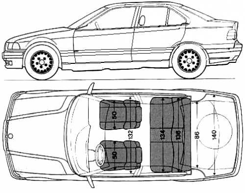 Blueprints > Cars > BMW > BMW 3-Series 320i (E36) (1992)