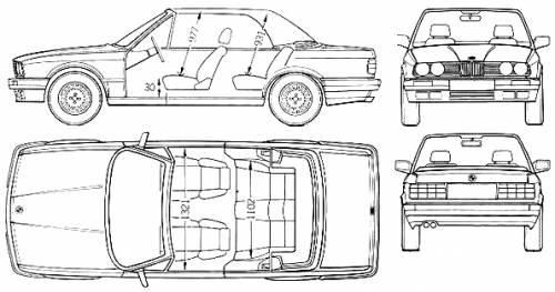 Blueprints > Cars > BMW > BMW 3-Series Cabriolet (E30) (1991)
