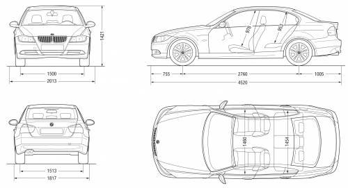 Blueprints > Cars > BMW > BMW 3-Series Sedan (E90) (2007)